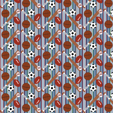 Sports Balls Light Blue Stripe fabric by cksstudio80 on Spoonflower - custom fabric