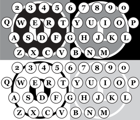 typewriter number letter keys pattern fabric by veerapfaffli on Spoonflower - custom fabric