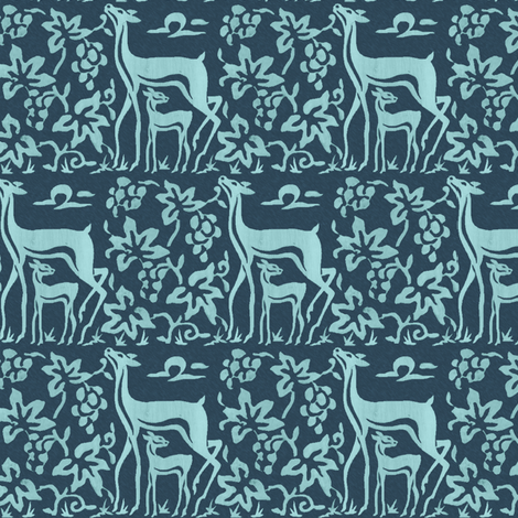 Arts & Crafts Deer and Grapes - seafoam on dk-turquoise-blue fabric by mina on Spoonflower - custom fabric