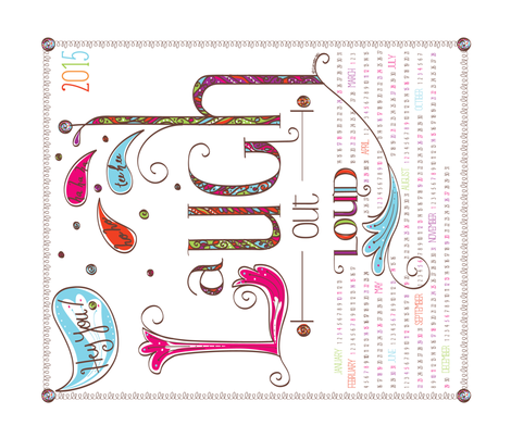 2015 Calendar: Laugh Out Loud - © Lucinda Wei fabric by lucindawei on Spoonflower - custom fabric