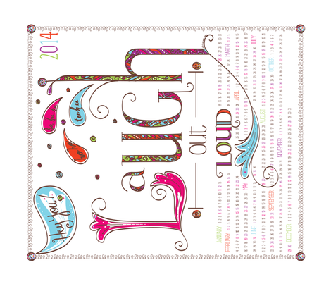 2014 Calendar: Laugh Out Loud - © Lucinda Wei fabric by simboko on Spoonflower - custom fabric