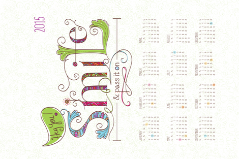 2015 Calendar: Smile and Pass it On - © Lucinda Wei fabric by simboko on Spoonflower - custom fabric