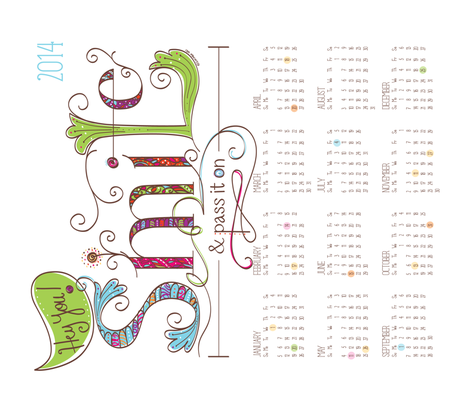 2014 Calendar: Smile and Pass it On - © Lucinda Wei fabric by simboko on Spoonflower - custom fabric
