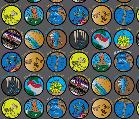 Earth Science Badges fabric by iliketodraw on Spoonflower - custom fabric