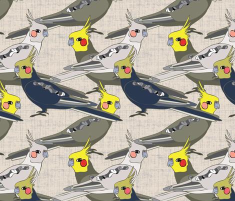 Cockatiels fabric by owlandchickadee on Spoonflower - custom fabric