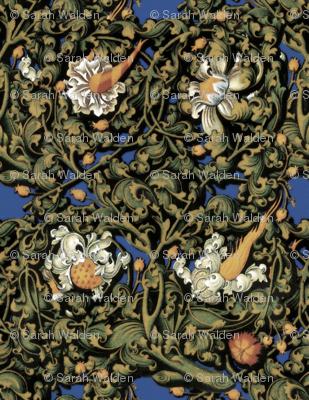 Fire Blossom Damask ~Blue