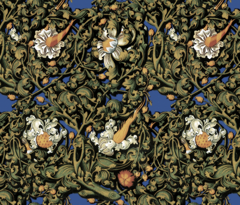 Fire Blossom Damask ~Blue fabric by peacoquettedesigns on Spoonflower - custom fabric