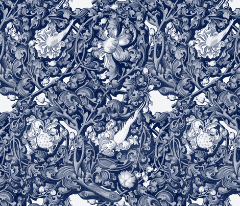 Fire Blossom Damask ~ Blue & White fabric by peacoquettedesigns on Spoonflower - custom fabric