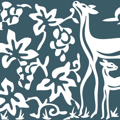 Arts & Crafts deer and grapes vector-DK-BLUE-196 fabric by mina on Spoonflower - custom fabric