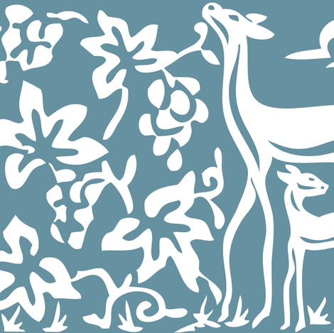 Arts & Crafts deer and grapes vector -MID-BLUE-195