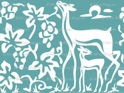 Arts & Crafts deer and grapes vector -TURQUOISE-180