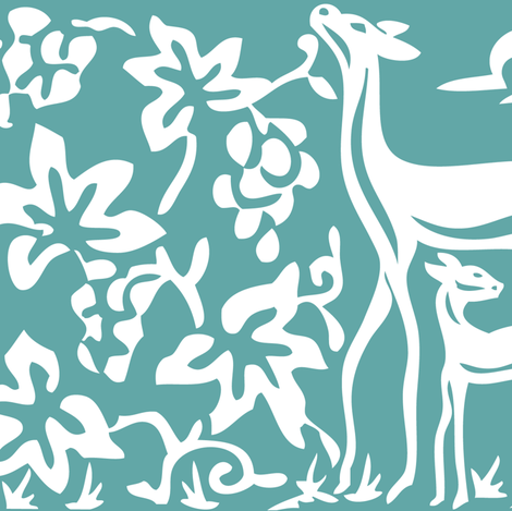 Arts & Crafts deer and grapes vector -TURQUOISE-180 fabric by mina on Spoonflower - custom fabric