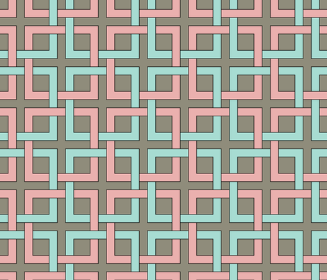 interlocking squares pink and turquoise fabric by ravynka on Spoonflower - custom fabric