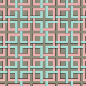 interlocking squares pink and turquoise