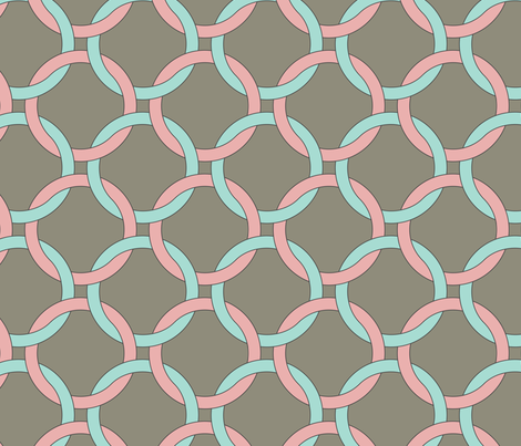 interlocking circles pink and turquoise fabric by ravynka on Spoonflower - custom fabric