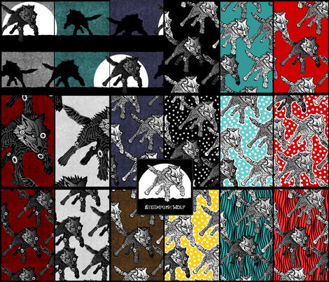 Sampler - Steampunk Wolf fabric by glimmericks on Spoonflower - custom fabric