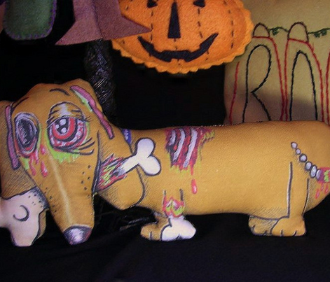 Zombie Dachshund Dog Dollie Plushie Doll cut and sew