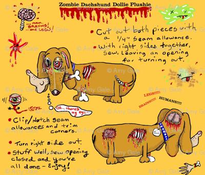 Zombie Dachshund Dog Dollie Plushie Doll cut and sew