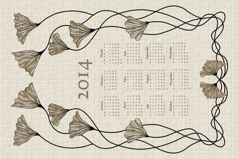 2014 Neutral Linen Calendar fabric by vo_aka_virginiao on Spoonflower - custom fabric
