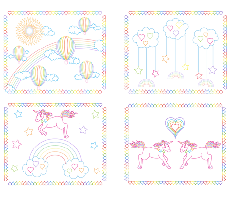 Awesome Rainbows & Unicorns, Balloons & Fluffy Clouds fabric by vo_aka_virginiao on Spoonflower - custom fabric