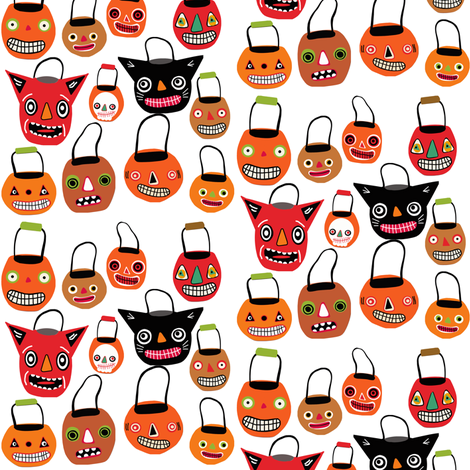 Trick Or Treat on white fabric by heidikenney on Spoonflower - custom fabric