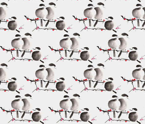 Chickadees in Winter fabric by walkwithmagistudio on Spoonflower - custom fabric