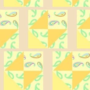 pastel paisleys beige quilt