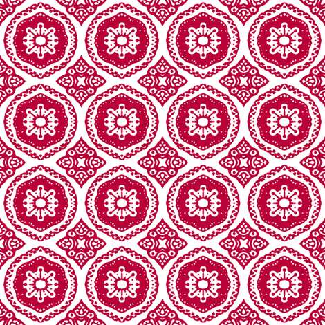 Hansel and Gretyl: Red Stamp fabric by tallulahdahling on Spoonflower - custom fabric