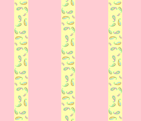 pastel paisleys pink stripes