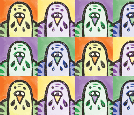 Parakeet Portraits fabric by owlandchickadee on Spoonflower - custom fabric