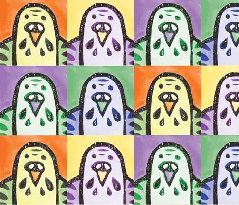 Parakeet Portraits fabric by owlandchickadee on Spoonflower - custom fabric