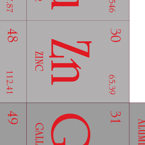 Periodic Table Grey with Red Text