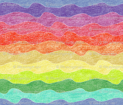 rainbow crayon waves