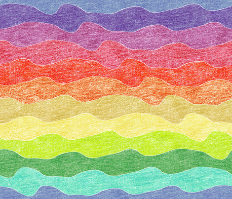 rainbow crayon waves fabric by weavingmajor on Spoonflower - custom fabric