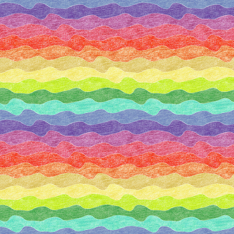small rainbow crayon waves fabric by weavingmajor on Spoonflower - custom fabric