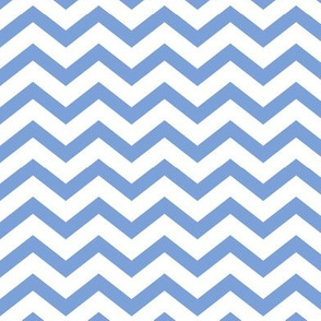 chevron cornflower blue and white