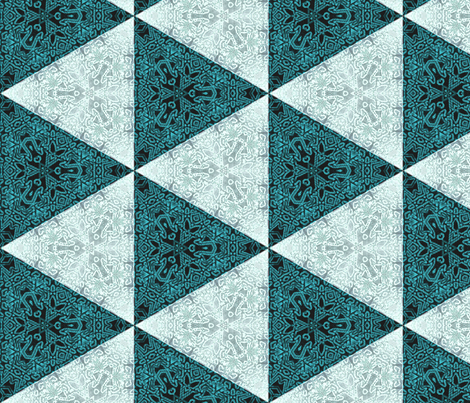 Quilters Turquoise Triangles- 6in horiz