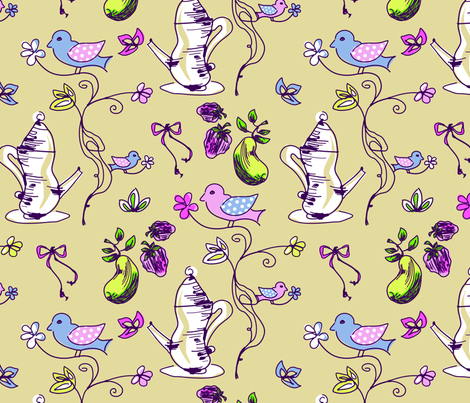 LaraGeorgine_Tea-Birds-ed fabric by larageorgine on Spoonflower - custom fabric