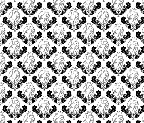 Hearts & Thistles White/Black fabric by pi-ratical on Spoonflower - custom fabric