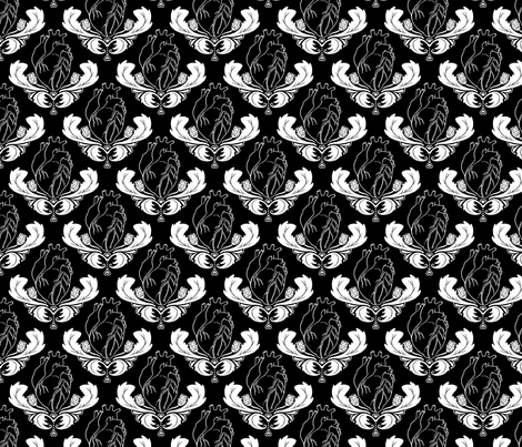 Hearts & Thistles Black/White fabric by pi-ratical on Spoonflower - custom fabric