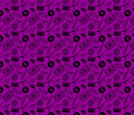80s Icons on purple fabric by risarocksit on Spoonflower - custom fabric