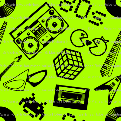 80s Icons on lime green