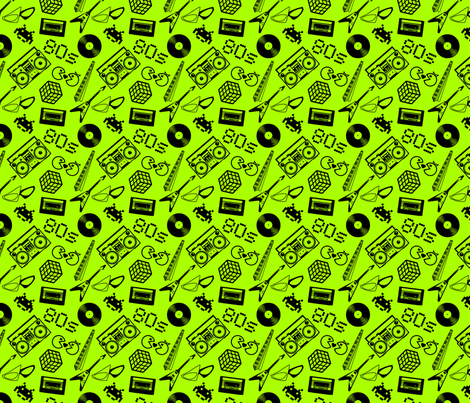80s Icons on lime green fabric by risarocksit on Spoonflower - custom fabric