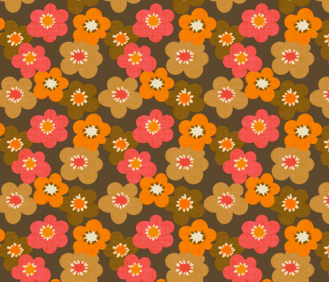 Flower Power Chocolate fabric by littlerhodydesign on Spoonflower - custom fabric