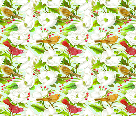 Magnolia_birds fabric by julistyle on Spoonflower - custom fabric