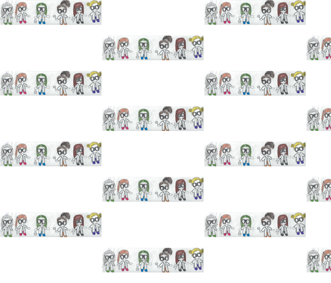 girl_chibi_scientists fabric by ds_star on Spoonflower - custom fabric