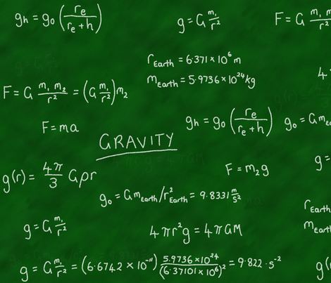 Gravity Lesson - Chalk on Chalkboard! fabric by shelleymade on Spoonflower - custom fabric