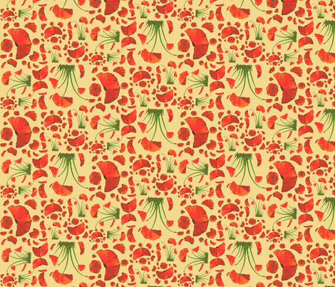 poppy ditsy 2 linen fabric by mojiarts on Spoonflower - custom fabric