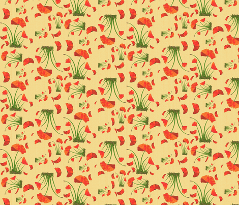 poppies linen fabric by mojiarts on Spoonflower - custom fabric