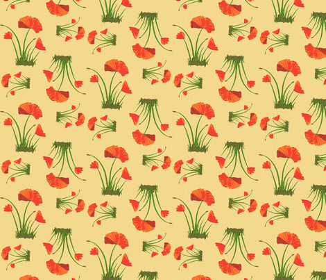 poppies 2 linen fabric by mojiarts on Spoonflower - custom fabric